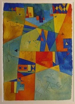 Antonia Guzmán<br>Equilibrio ciudadano<br>Acuarela s/papel<br>40x35 cm<br>1994