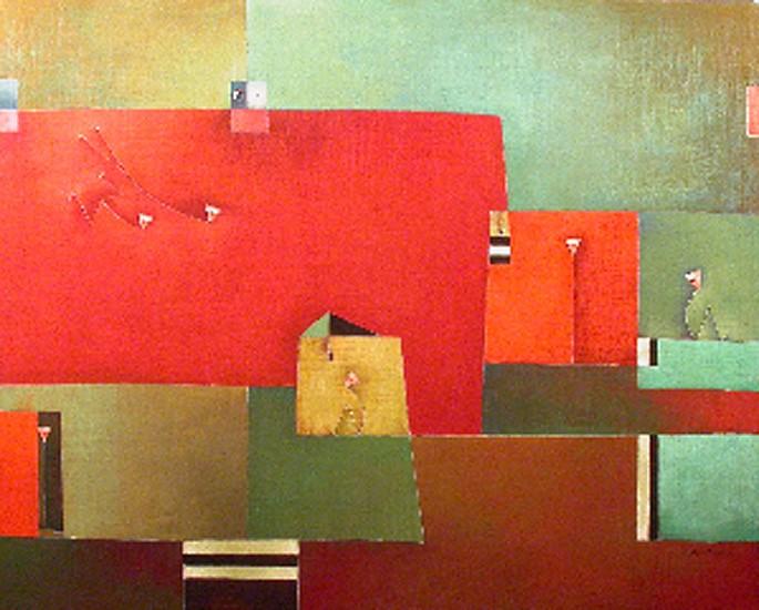 Antonia Guzmán<br>DOS LOCOS LLEGAN<br>120 x 150 cm<br>Marzo 2007