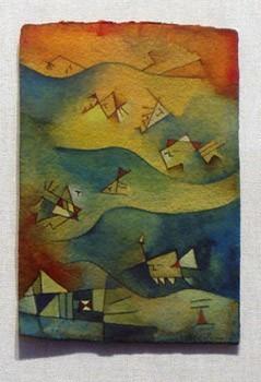 Antonia Guzmán<br>El Nadador<br>Acuarela s/papel, 11x16 cm, 1995