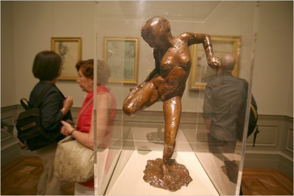 "[Photo: Librado Romero/The New York Times] Edgar Degas, ""Dancer Looking at the Sole of Her Right Foot."""