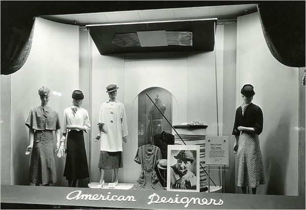 [Photo: Worsincer/Museum of The City of New York] A 1933 window display devoted to American designers at Lord & Taylor in Manhattan.