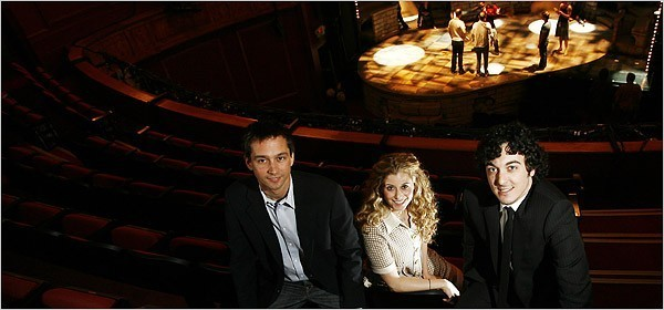 """[Keith Bedford for The New York Times]From left, Robert Ahrens, Tara Smith and Brian Swibel, three of the producers of the musical """"Xanadu,"""" at the Helen Hayes Theater."""