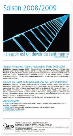 Opéra de Paris. Saison 2008/2009