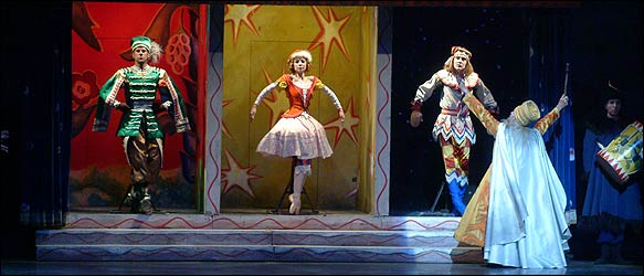 """[Nan Melville for The New York Times]From left, Marcelo Gomes, Amanda McKerrow, Julio Bocca and Frederic Franklin in """"Petrouchka"""""""