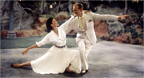 "[Everett Collection] Cyd Charisse with Fred Astaire in what Ms. Charisse said was her favorite musical number, the ""Dancing in the Dark"" sequence in ""The Band Wagon"" (1953)."