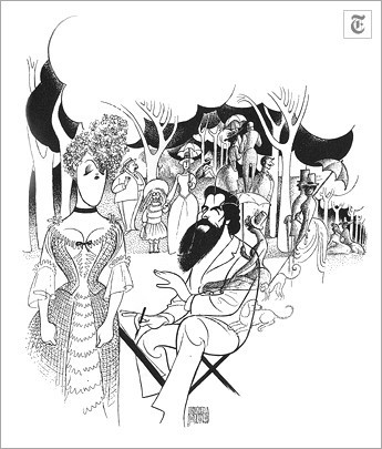 """[Al Hirschfeld]""""Sunday in the Park With George""""(April 29, 1984) Mandy Patinkin, as the painter Georges Seurat, sketches Bernadette Peters in """"Sunday in the Park With George,"""" a James Lapine-Stephen Sondheim musical."""