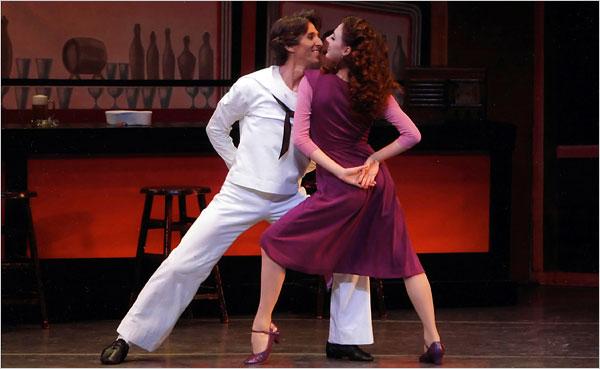 "[Paul Kolnick/New York City Ballet]Damian Woetzel and Tiler Peck in Jerome Robbins's ""Fancy Free"" at Mr. Woetzel's farewell."