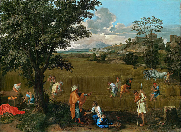 """[Photo: Musée du Louvre]Nicolas Poussin (1594-1665): """"Summer: Ruth and Boaz""""If a painter can be judged by the love he inspires, writes Holland Cotter, Nicolas Poussin (1594-1665) was one of art history's favorite valentines. Corot, Delacroix, Constable and Cézanne all adored him. So did Picasso and Matisse. Nor were artists his only fans. The 19th-century English critic William Hazlitt surpassed himself in his praise of Poussin and may well have introduced his work to an already deeply Poussinian John Keats. And the romance continues."""