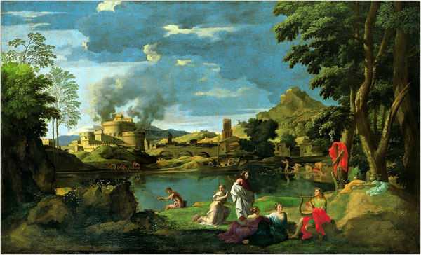 """[Photo: Musée du Louvre] Nicolas Poussin (1594-1665): """"Landscape with Orpheus and Eurydice"""" In """"Landscape With Orpheus and Eurydice,"""" depicting the marriage of the doomed couple, the figures in the wedding party suggest a generic ballet ensemble, all flying gowns and antigravitational grace. But why does that building on the horizon look familiar? Because it appears to be the Castel Sant'Angelo, a Roman landmark in Poussin's day and our own. The other novelty here is that it seems to be going up in smoke. The Eternal City, it seems, isn't so eternal after all."""