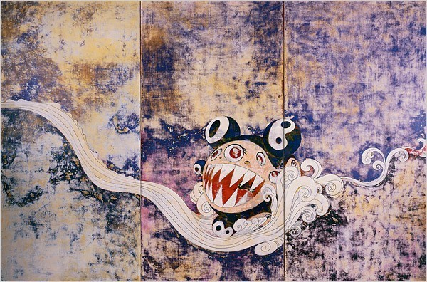 """[Photo: Takashi Murakami/Kaikai Kiki Comapany, courtesy of Blum & Poe, Los Angeles] In the show's final four paintings, all from the last two years, different Japanese art forms, materials and styles create a great contrapuntal energy. In """"727-727,"""" Mr. DOB's snarling head bounces on an elegant unfurling wave, against layers of sanded colors that encompass the entire spectrum, and evoke ancient screens and Warhol's Oxidation paintings as well as atomic radiation."""