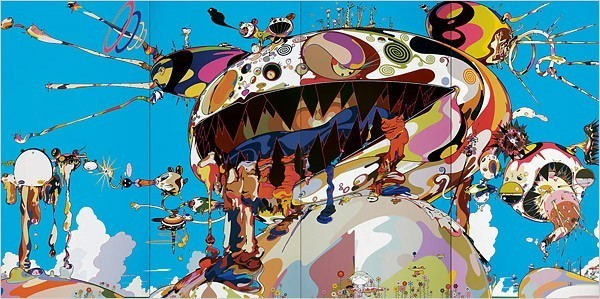 "[Photo: Takashi Murakami/Kaikai Kiki Comapany, courtesy of Galerie Emmanuel Perrotin, Paris and Miami] ""Tan Tan Bo Puking"" (2002) is a Daliesque apocalypse: Mr. DOB in his death throes with globs of brilliant color spilling from his jagged teeth, and strange protrusions, at once foul and gorgeous, erupting all over his enormous head. One culminates in a golden hand that meets another hand in a flash of light. And in the lower right, the Kiki stands among four Shinto staffs dangling with sacred paper that signal the soul crossing to the afterlife."