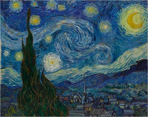 "[Photo: Museum of Modern Art] ""The Starry Night"" (1889) / Unable to see clearly, he painted what he saw, ultimately pitting his colors against each other as if they were antagonists in a visual drama. He egged on their clashes with exaggerated daubs of paint, bringing backgrounds forward and giving each inch of canvas its own sense of life."