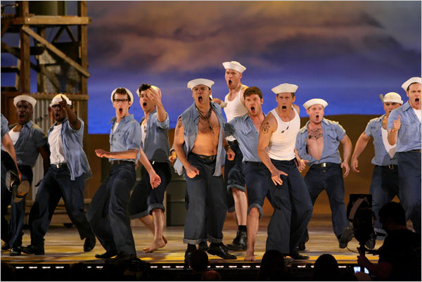 "[Photo: Sara Krulwich/The New York Times]<br>""South Pacific,"" the most successful show of the night with seven wins, took best revival in addition to four design awards and an award for best director, Bartlett Sher."
