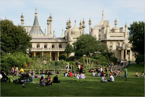 [Photo: Jonathan Player for The New York Times] The English port town of Brighton is regaining its funky colors with cosmopolitan Londoners rediscovering its lanes and Regency-style buildings. The Royal Pavilion, left, is an Indian-inspired palace featuring gilded palm trees and soaring minarets.