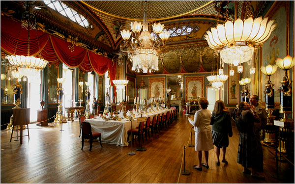 [Photo: Jonathan Player for The New York Times] Once inside Brighton's Royal Pavilion, pay attention to the fantastical dragon chandelier in the dining room, so lifelike that diners reportedly trembled.