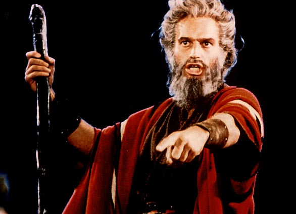 """EPIC: Heston as Moses in Cecil B. DeMille's 1956 epic, """"The Ten Commandments."""""""