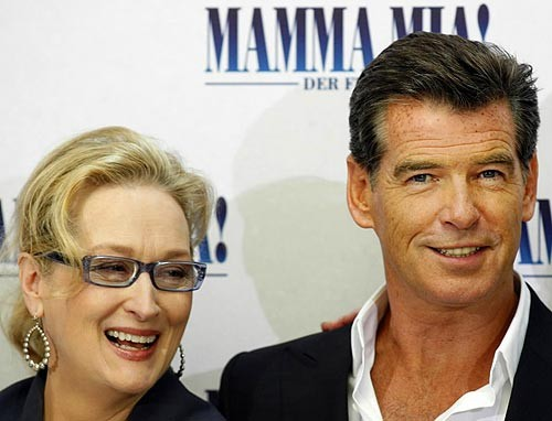"[AP/Miguel Villagran] In Berlin Actors Meryl Streep and Pierce Brosnan greet the media in Berlin on July 3 to promote their new film ""Mamma Mia!."""