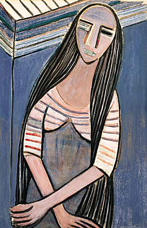 """[Museum of Latin American Art]""""Woman With Long Hair, I"""" from 1938, is among the works in """"Wifredo Lam in North America"""" at the Museum of Latin American Art.Wifredo Lam's delirious fusion paintings explore spiritual issues."""
