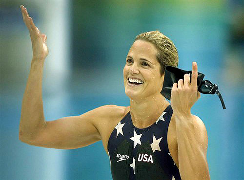 [Robert Gauthier/Los Angeles Times] 2008 Beijing Games Swimming U.S. swimmer Dara Torres gives a shrug to acknowledge she did the best she could in capturing the silver medal Sunday in the women's 50-meter freestyle.
