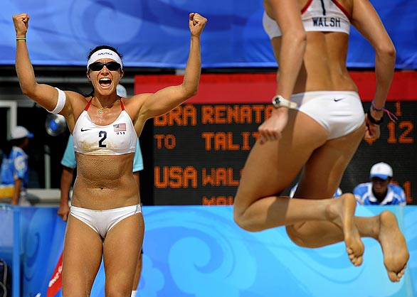 [(Wally Skalij Los Angeles Times)] 2008 Beijing Games Day 11 USA's Misty May-Treanor, left, and Kerri Walsh celebrate after defeating Brazil and moving into the gold medal match at the 2008 Beijing Olympics.
