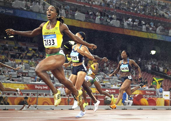 [Wally Skalij Los Angeles Times] 2008 Beijing Games Day 13 Jamaica's Veronica Campbell-Brown crosses the finish line and wins the gold medal in the women's 200-meter final.