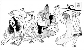 "[Al Hirschfeld] A Season of Songs (June 26, 1949) Left to right: Lisa Kirk, singing ""Always True to You (In My Fashion),"" and Lorenzo Fuller, Eddie Sledge and Fred Davis doing ""Too Darn Hot,"" in ""Kiss Me, Kate""; Juanita Hall, Betty St. John and William Tabbert in ""Happy Talk,"" from ""South Pacific""; and Carol Channing in ""The Gladiola Girl,"" in ""Lend an Ear."""