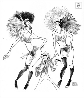 """[Al Hirshfeld] """"Chicago"""" (June 8, 1975) Chita Rivera, Jerry Orbach and Gwen Verdon in a Bob Fosse routine from """"Chicago."""""""