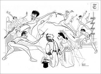 """[Al Hirschfeld] West Side Story"""" (Sept. 22, 1957) Larry Kert and Carol Lawrence, center, played the star-crossed lovers in """"West Side Story."""" The cast also included Ken LeRoy, left, and Mickey Calin, as switch-blade street fighters, and Chita Rivera (with earings)."""