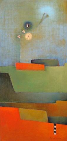 Antonia Guzmán<br>A Primera Vista<br>Acrylic on Canvas<br>36 x 17