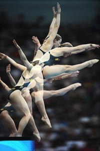 [AFP/Getty Images]Silver medalists from Australia Melissa Wu and Briony Cole (foreground).