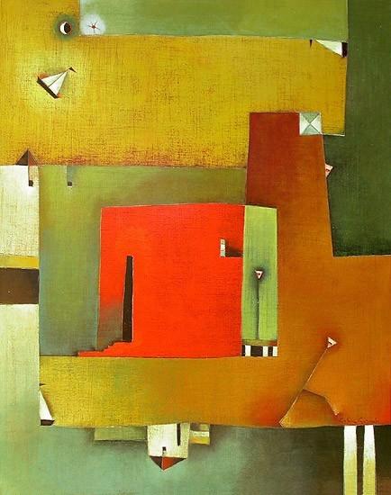 Antonia Guzmán<br>ALGUIEN ESPERA<br>Acrílico sobre tela<br>100 X 80 cm<br>Nov 2004