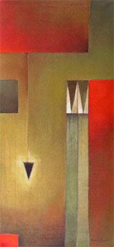 """Antonia Guzmán<br>""""Otro pendular""""<br>2006<br>acrylic on canvas<br>36 x 17"""""""
