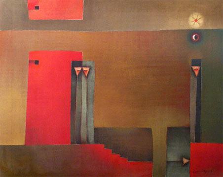 """Antonia Guzmán<br>""""El marginal""""<br>2006<br>acrylic on canvas<br>32 x 40"""