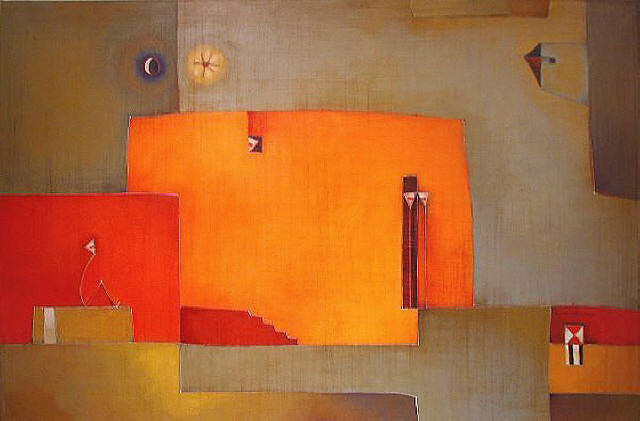 Antonia Guzmán<br>Another Day in Tranquility/Otro Dia En Pueble Tranquillo<br>2006<br>24 x 36 inches<br>painting, acrylic on canvas