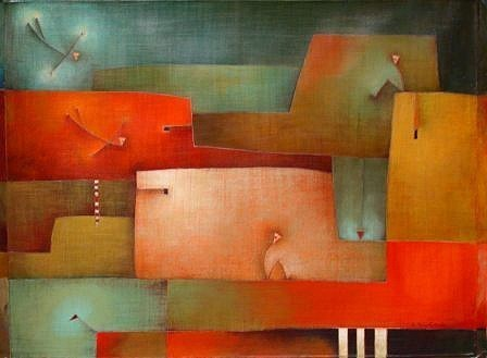 Antonia Guzmán<br>Arrived Together<br>2006<br>30 x 39 inches<br>painting, acrylic on canvas