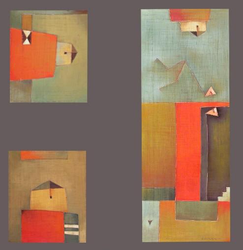Antonia Guzmán<br>Caída de Otro, Casa I, Casa II<br>2007<br>Acrylic on canvas<br>Tryptich 30 x 10 ½ in (area)