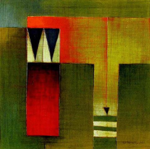 Antonia Guzmán<br>Dos En Tango<br>2006<br>16 x 16 inches<br>painting, acrylic on canvas