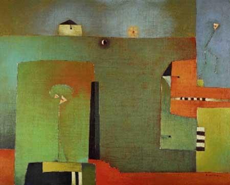 Antonia Guzmán<br>El cuento de la partida<br>Acrylic on Canvas<br>32 x 40 inches<br>2008