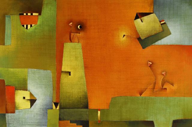 """Antonia Guzmán<br>""""Espera con Luna""""<br>81 x 121 cm<br>Oct 2008<br>Acrílico"""