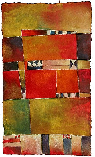 Antonia Guzmán<br>ESTRATOS<br>Acrílico sobre tela<br>25 x 14,5 cm<br>Agosto 2005