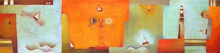 Antonia Guzmán<br>EL GRAN VIAJE<br>Acrílico sobre tela<br>22 x 90 inches<br>Enero 2004