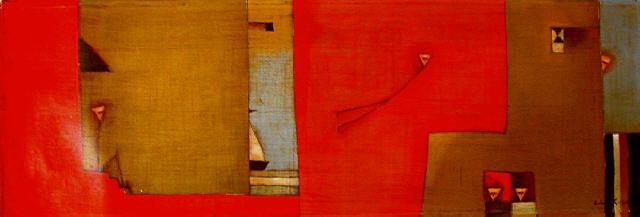 Antonia Guzmán<br>El Dia de la Partida<br>2004<br>10 x 30 inches<br>painting, acrylic on canvas