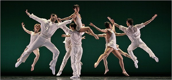 """[Richard Termine for The New York Times] Lisa Viola, center top, and dancers from the Paul Taylor Dance Company in Mr. Taylor's """"Equinox,"""" set to Brahms's first string quintet, at City Center."""