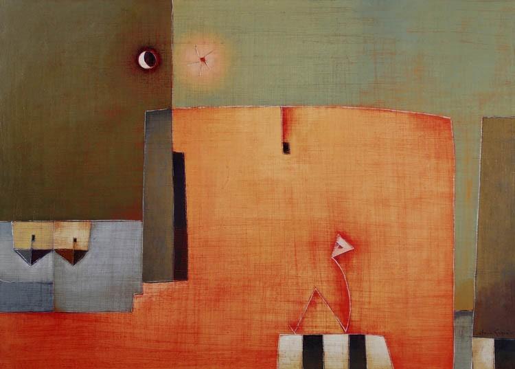 Antonia Guzmán<br>Estar Solo<br>2008<br>Acrylic on canvas<br>20 x 28 in