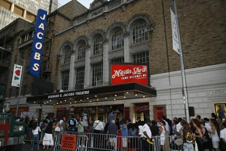 The show's marquee at the Jacobs Theatre (242 West 45th Street)