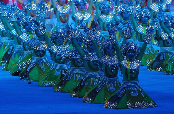 Dancers during a closing ceremony performance [Stu Forster/Getty Images ]