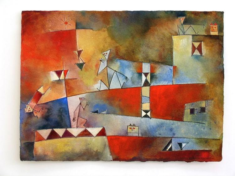 Antonia Guzmán<br>Huida de Animal<br>1999<br>Watercolor on handmade paper<br>9 x 12 in