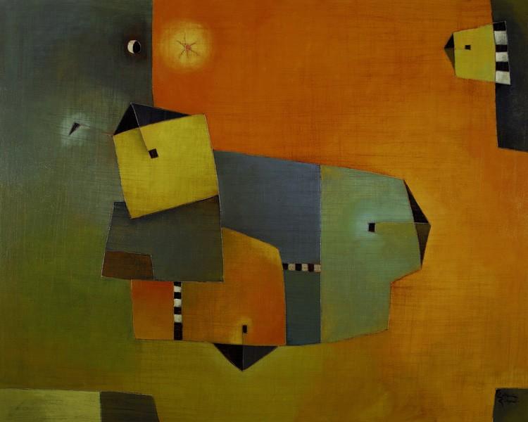 Antonia Guzmán<br>Pueblo Suspendido<br>Acrylic on canvas, 32 x 40 in<br>2008