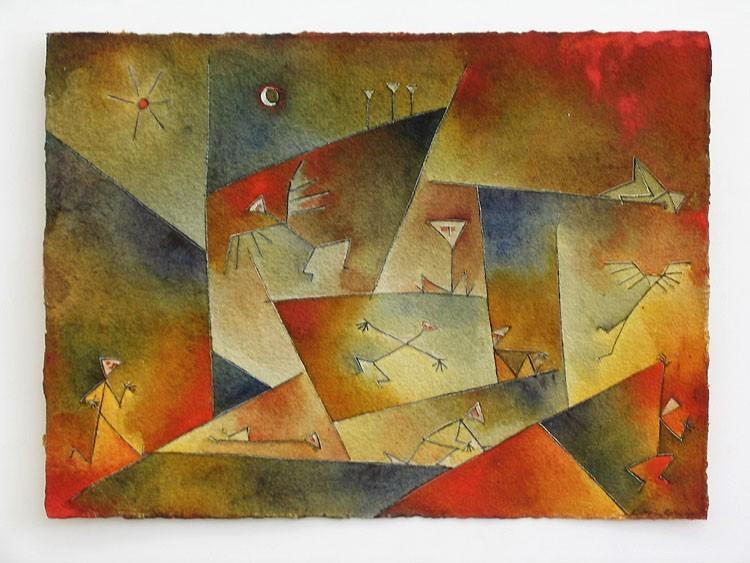 Antonia Guzmán<br>Solitarios<br>1996<br>Watercolor on handmade paper<br>9 x 12 in