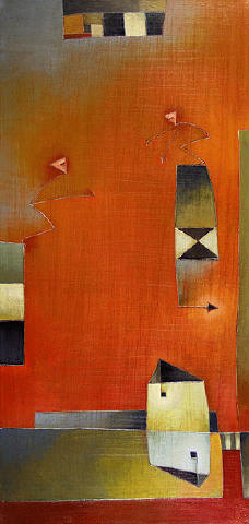 Antonia Guzmán<br>I Came/ Veni<br>2008<br>36 x 17 inches<br>painting, acrylic on canvas
